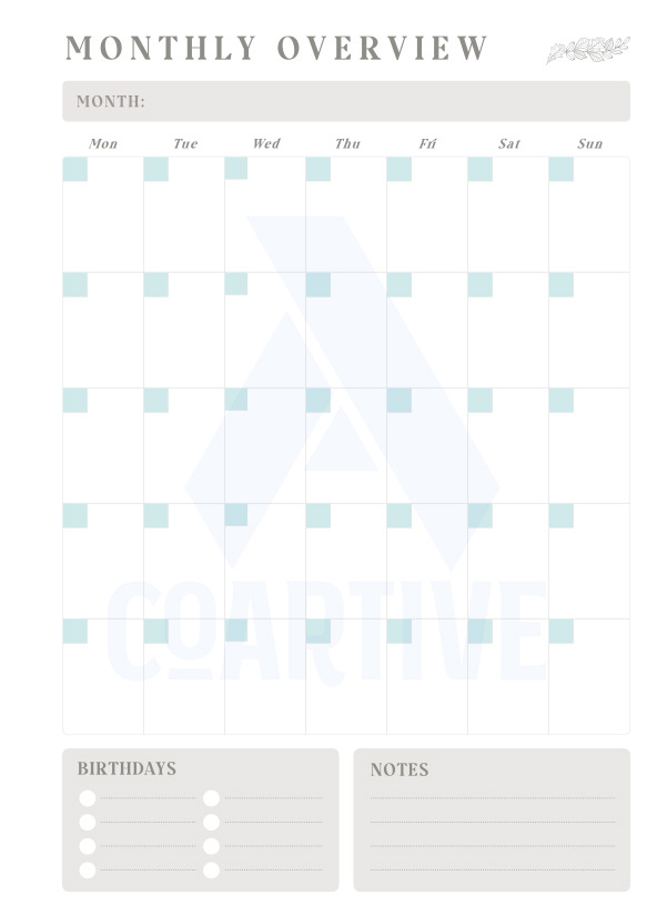 FREE monthly planner printable from Coartive